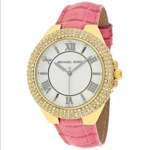 Michael Kors Pink Embossed Croco SlimCamille Watch